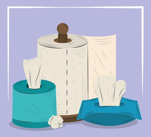 Toiletpapier, papieren zakdoekje en keukenpapier handdoek hygiëne ontwerp illustratie