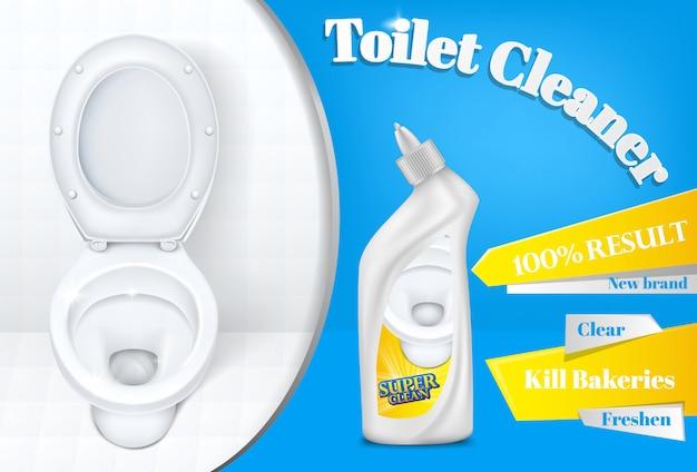 Toiletreiniger reclame poster sjabloon van witte plastic wasmiddel fles en toilet