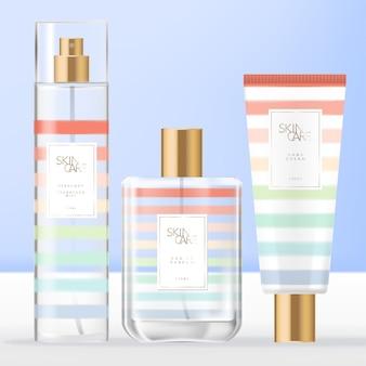 Toilettasjes voor de zomer, beauty- of geurset met parfumfles, body- of gezichtsmistspray en handcrèmebuisverpakking met regenboogstreeppatroon.
