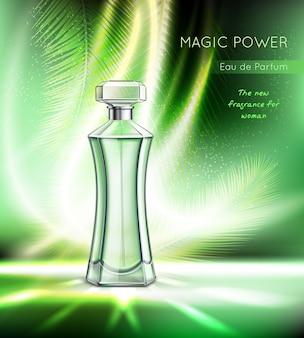 Toiletwater parfum eau toilette vrouwen geur realistische reclame met elegante fles fonkelende vectorillustratie