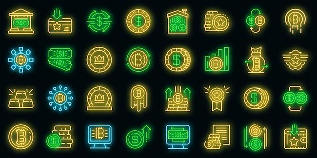Tokens pictogrammen instellen. overzicht set tokens vector iconen neon kleur op zwart