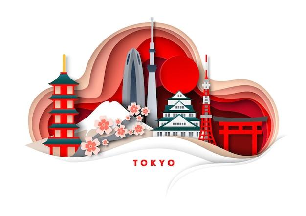 Tokyo stad vector papier gesneden illustratie tempels toren japan beroemde bezienswaardigheden en toeristische attractie...