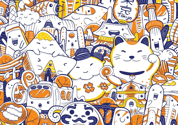 Tokyo stadsgezicht doodle in platte ontwerpstijl