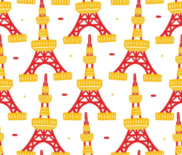Tokyo tower naadloos patroon in platte ontwerpstijl