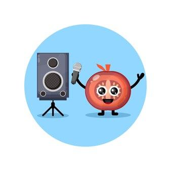 Tomaat karaoke schattig karakter mascotte