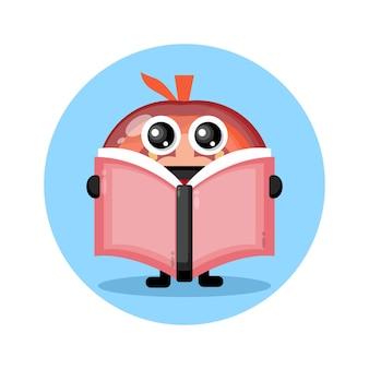 Tomaat leest een schattig karakterlogo van een boek
