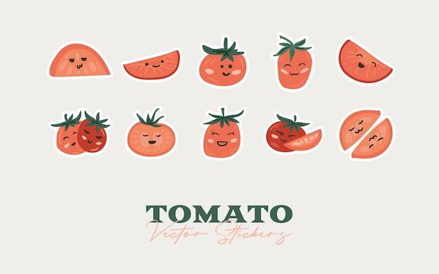 Tomaat tekenfilm stickers set