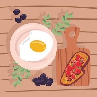 Tomaten en gebakken eieren