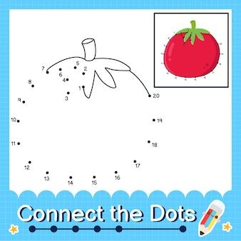 Tomaten-kinderpuzzel verbind de stippen-werkblad voor kinderen die de nummers 1 tot en met 20 tellen