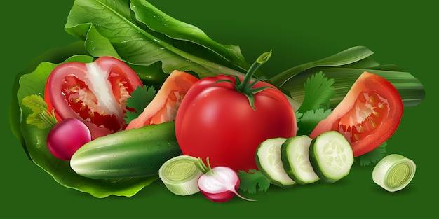 Tomaten, komkommer en salade