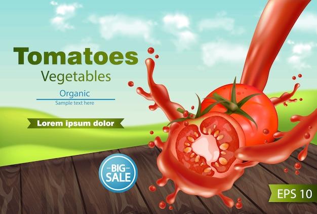 Tomaten met plonsachtergrond