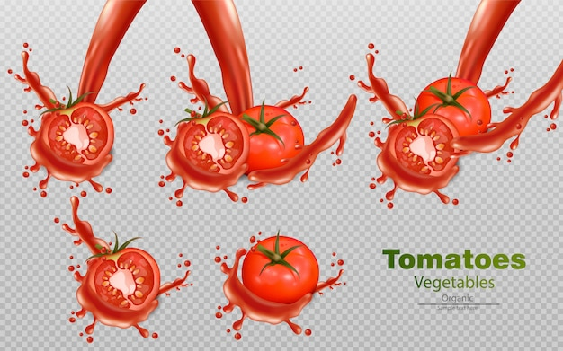 Tomaten met splash-effecten