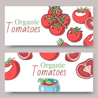 Tomaten organische saus set van banners