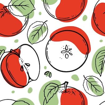 Tomaten schetsen met rode en groene kleur spatten naadloze patroon op witte achtergrond