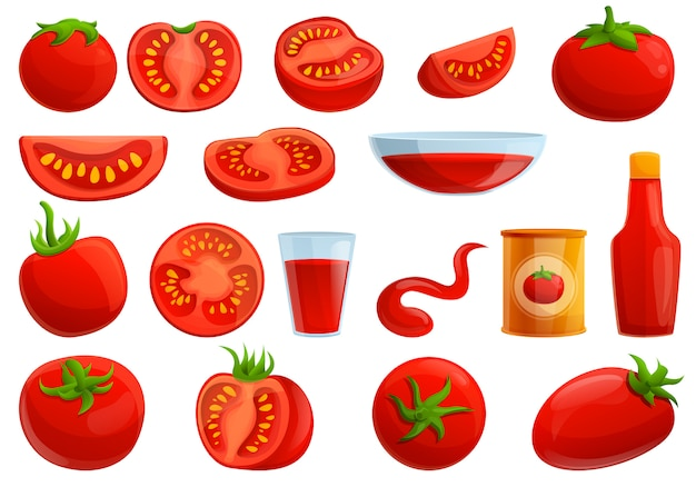 Tomaten set, cartoon stijl