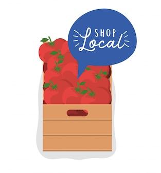 Tomatendoos met winkel lokaal binnen bubbelontwerp van detailhandel en marktthema