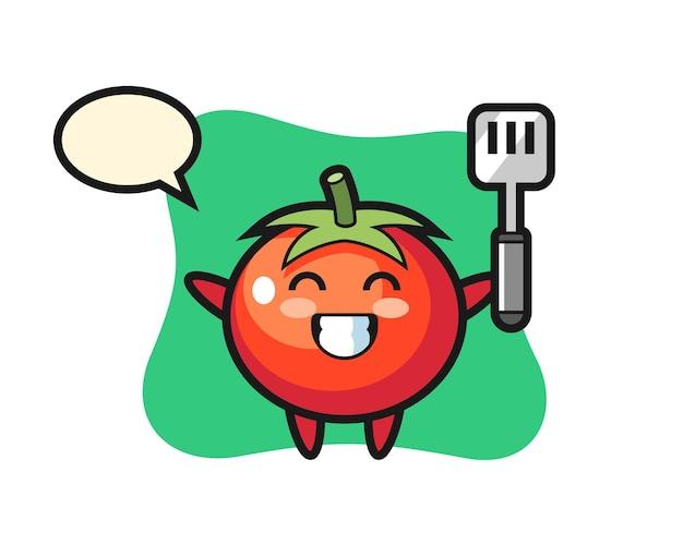 Tomatenkarakterillustratie terwijl een chef-kok kookt, schattig stijlontwerp voor t-shirt, sticker, logo-element