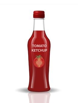 Tomatenketchup in een glazen fles, realistische stijl. papkrika rode saus, chili. voor uw product. op een witte achtergrond. illustratie.