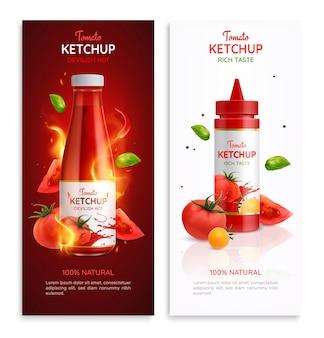 Tomatenketchup realistische verticale banners geplaatst illustratie