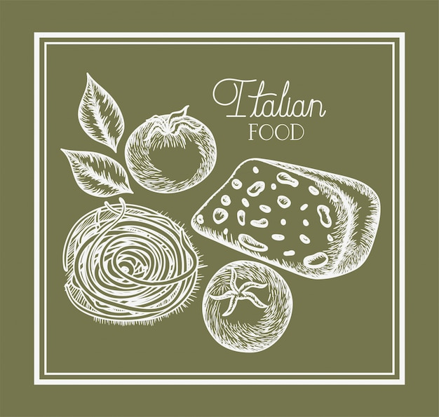 Tomatenplant en kaas italiaans getrokken voedsel