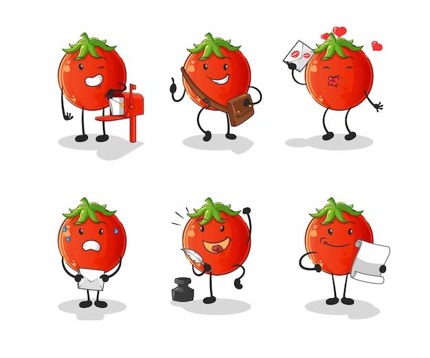 Tomatenpostbode ingesteld karakter. cartoon mascotte