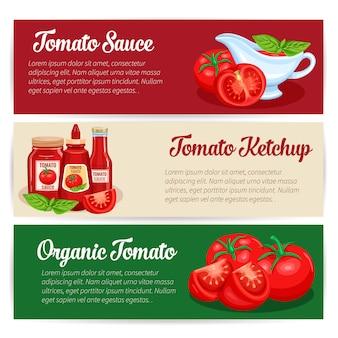 Tomatensaus ontwerpset van banners.