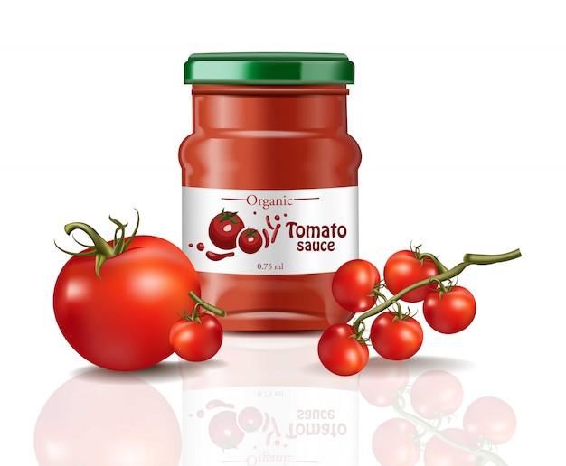 Tomatensaus product mock up geïsoleerd op witte achtergrond