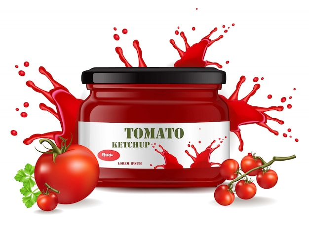 Tomatensaus product mock-up. realistisch