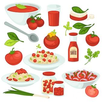 Tomatenvoedselmaaltijden, salades en schotels met tomaten plantaardig ingrediënt.