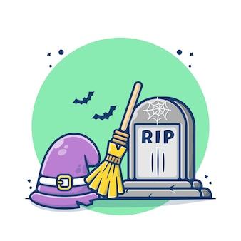 Tombstone en wizard accessoires illustratie