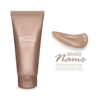 Tonale foundationcrème, 3d-buis geïsoleerde illustratie. toonbasis of tonale make-up cosmetisch pakket en vlekken