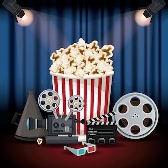 Toneelbioscoopgordijn met schijnwerpers en elementenfilm