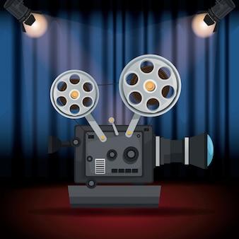 Toneelbioscoopgordijn met schijnwerpers en filmfilmprojector