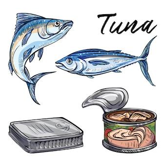 Tonijn set. cartoon set van tonijn
