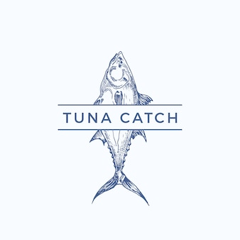 Tonijn vangen abstract teken, symbool of logo sjabloon. handgetekende tonijn met stijlvolle typografie. vintage embleem voor een restaurant, café, markt, enz. geïsoleerd.