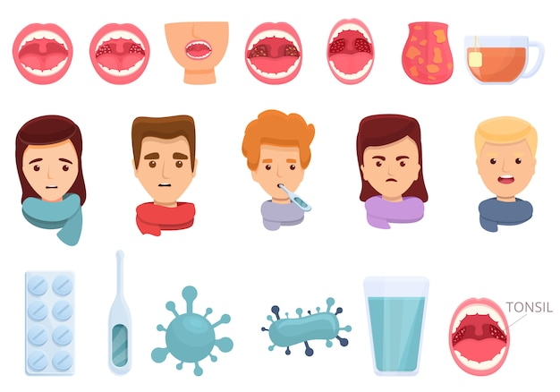 Tonsillitis iconen set, cartoon stijl