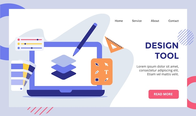 Tool pen laag op display monitor laptop campagne voor web website startpagina bestemmingspagina sjabloon banner met modern