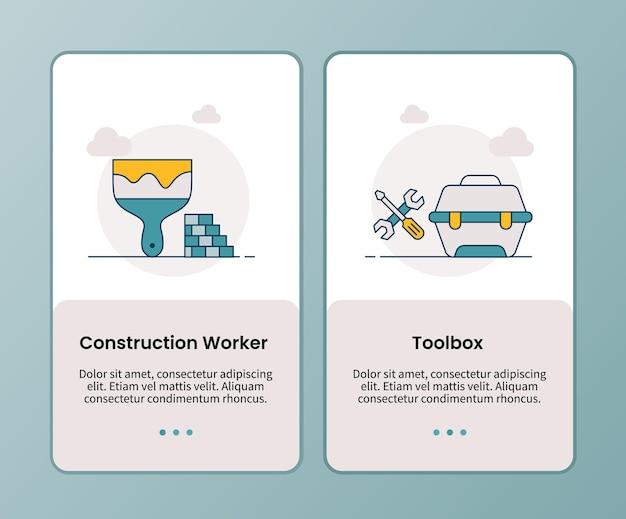 Toolbox-campagne voor bouwvakkers voor onboarding van sjabloon voor mobiele apps