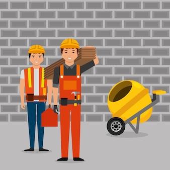 Toolkit voor bouwvakkers, houten planken en betonmixer