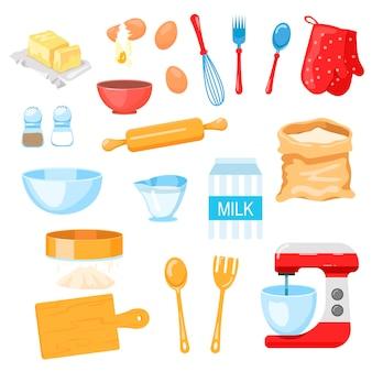 Tools en ingrediënten voor het bakken van illustraties set