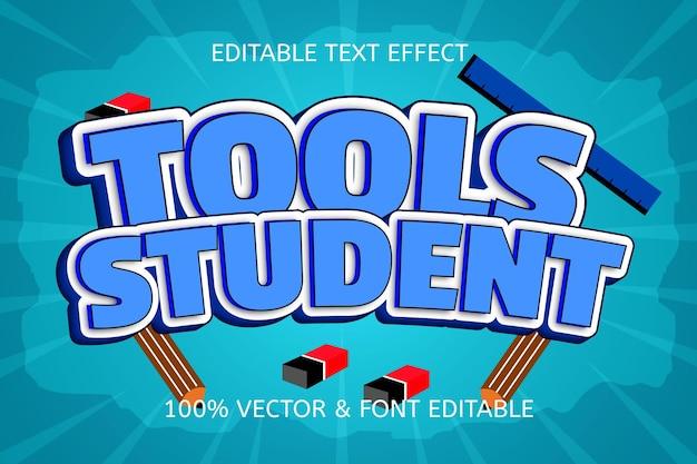 Tools student stijl cartoon bewerkbaar teksteffect
