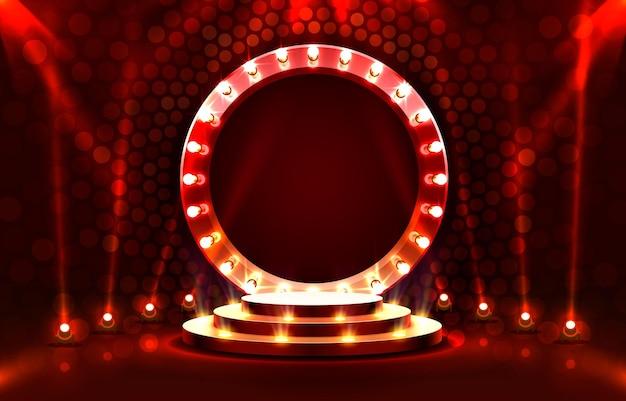 Toon licht podium podium scène met voor prijsuitreiking op rode achtergrond vector