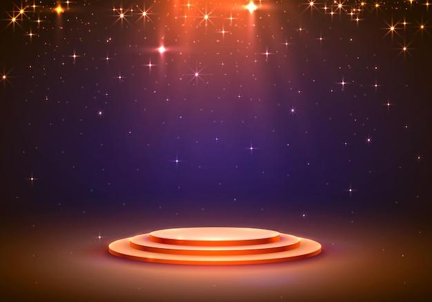Toon licht podium sterren achtergrond. vector illustratie