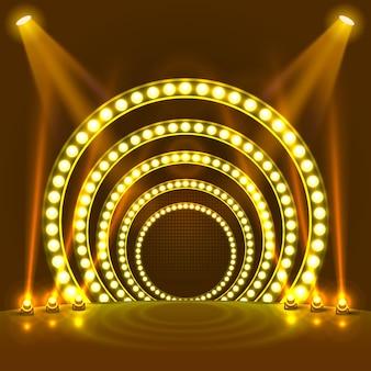 Toon lichte podium gele achtergrond. vector illustratie