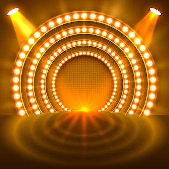 Toon lichte podium gouden achtergrond. vector illustratie