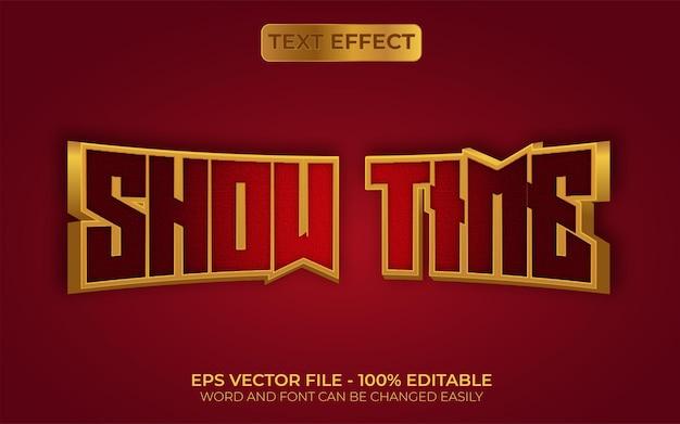 Toon tijd teksteffect gouden stijl bewerkbaar teksteffect