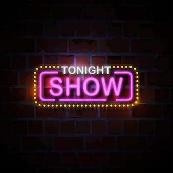 Toon vanavond neon stijl teken illustratie