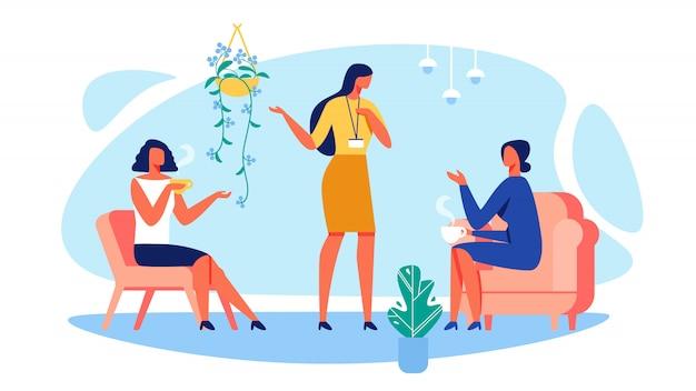 Toonaangevende opleidingsbedrijven en vrouwen in stoelen.