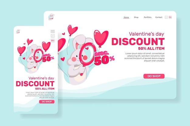 Toonaangevende pagina verkoop voor valentijnsdag met illustratie schattig konijn