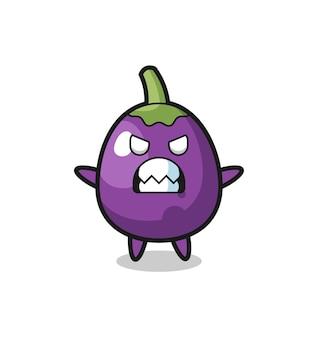 Toornige uitdrukking van het aubergine-mascotte-personage, het schattige aubergine-personage houdt een oude telescoop vast